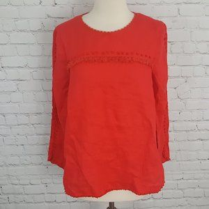 J Crew Embroidered Linen Blouse Top Red 8